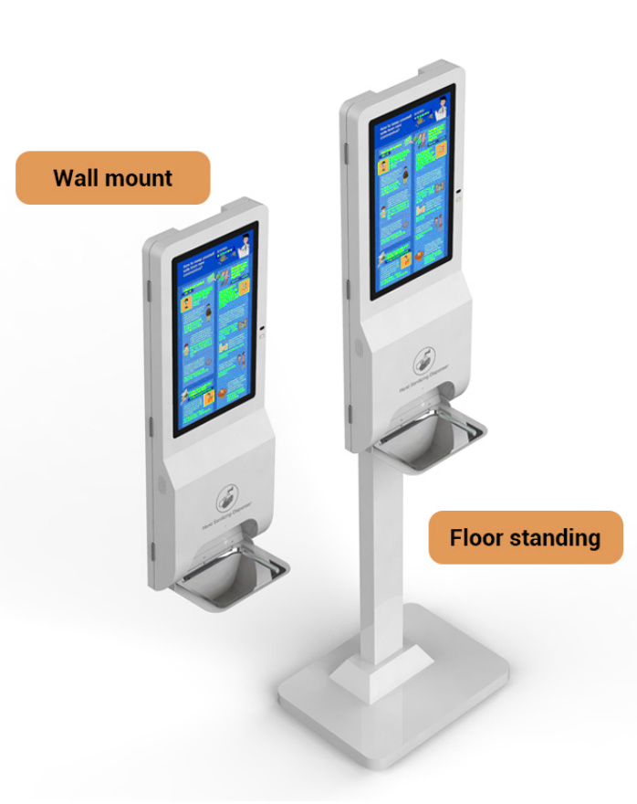 Wall mounted and floor standing Display and hand sanitising dispenser