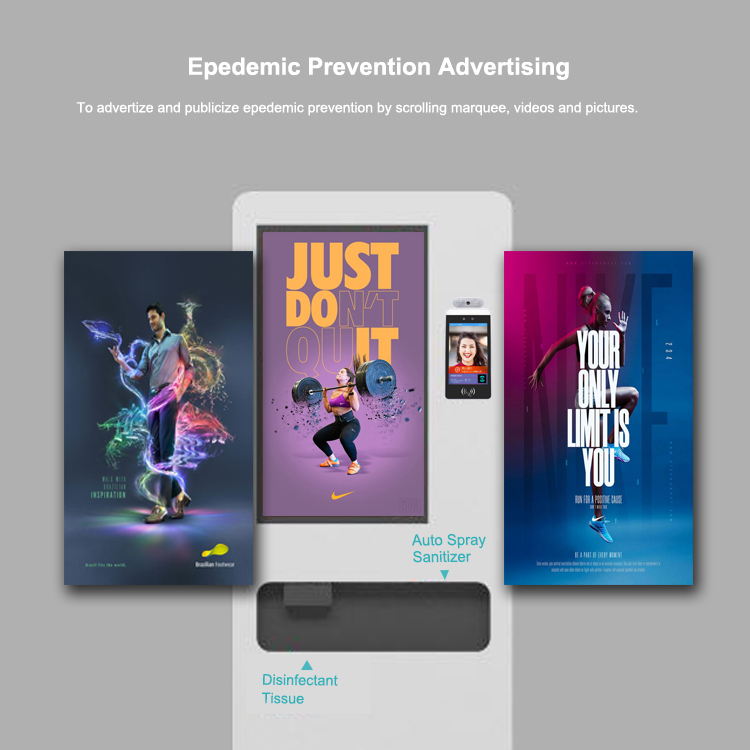 Advertising kiosk by Sanitise Ireland with auto spray sanitiser and disinfectant tissue