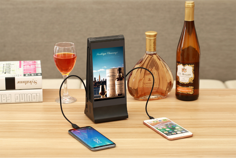 Table menu display with dual phone charger